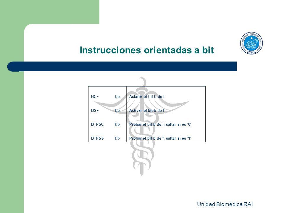 Unidad Biomédica RAI Instrucciones orientadas a bit BCFf,bAclarar el bit b de f BSFf,bActivar el bit b de f BTFSCf,bProbar el bit b de f, saltar si es
