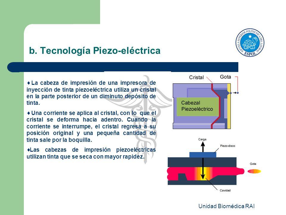 Unidad Biomédica RAI b. Tecnología Piezo-eléctrica La cabeza de impresión de una impresora de inyección de tinta piezoeléctrica utiliza un cristal en