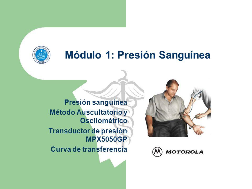Módulo 1: Presión Sanguínea Presión sanguínea Método Auscultatorio y Oscilométrico Transductor de presión MPX5050GP Curva de transferencia