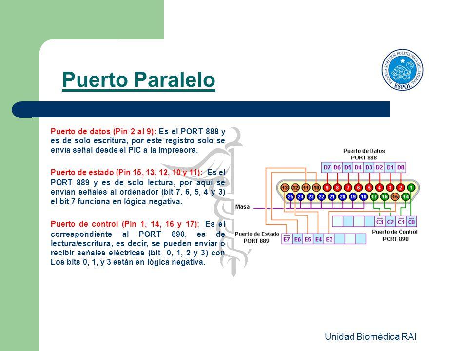 Unidad Biomédica RAI Puerto Paralelo Puerto de datos (Pin 2 al 9): Es el PORT 888 y es de solo escritura, por este registro solo se envía señal desde
