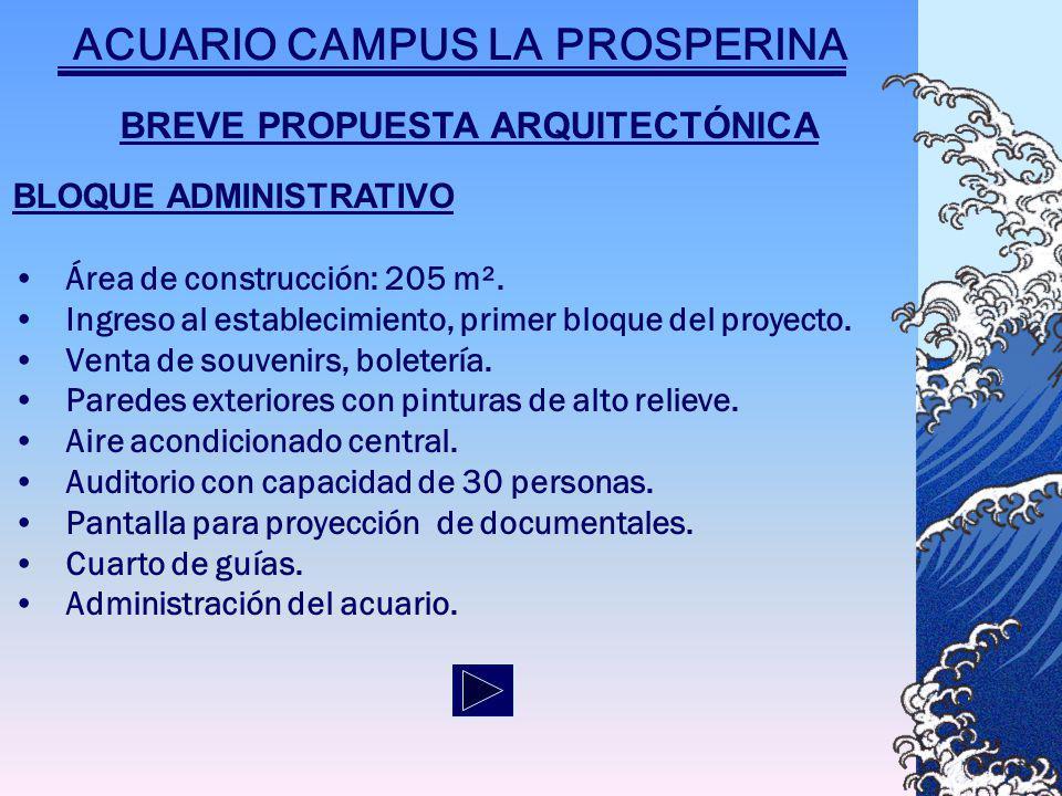 BREVE PROPUESTA ARQUITECTÓNICA BLOQUE ADMINISTRATIVO Área de construcción: 205 m².