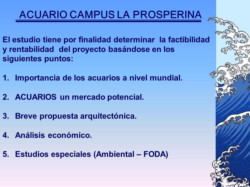 ACUARIO CAMPUS LA PROSPERINA El estudio tiene por finalidad determinar la factibilidad y rentabilidad del proyecto basándose en los siguientes puntos: 1.Importancia de los acuarios a nivel mundial.