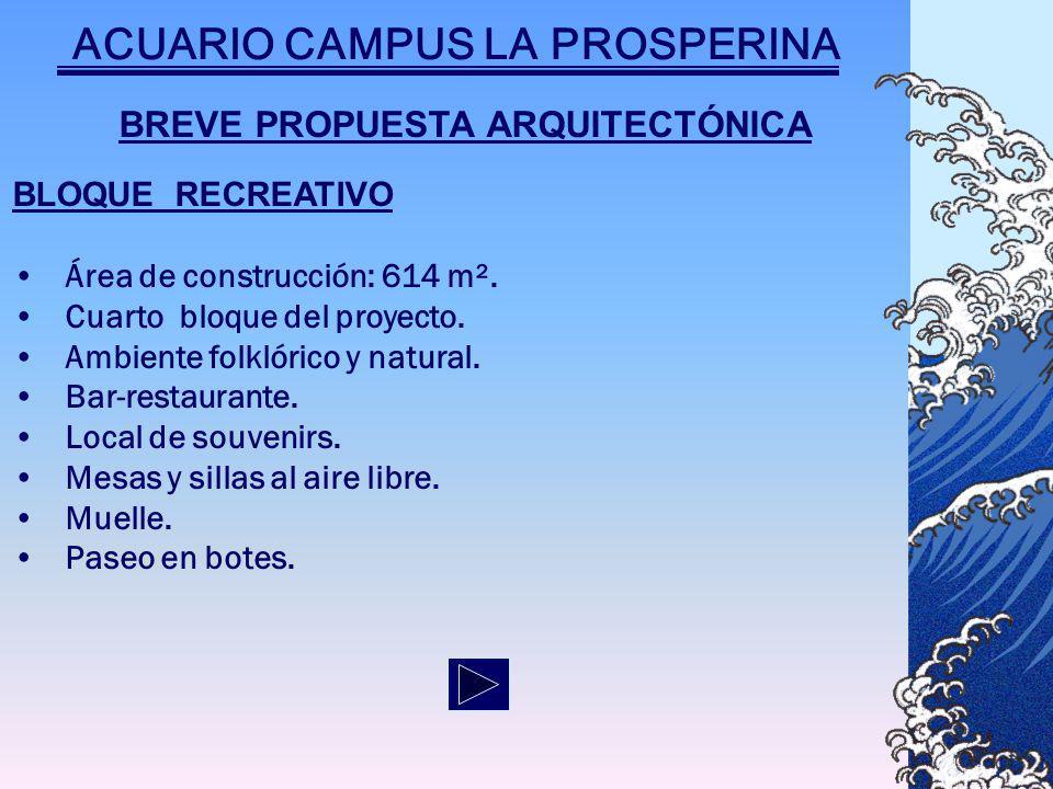 BREVE PROPUESTA ARQUITECTÓNICA BLOQUE RECREATIVO Área de construcción: 614 m².