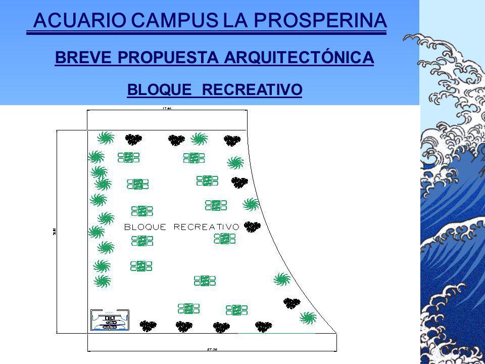 BREVE PROPUESTA ARQUITECTÓNICA BLOQUE RECREATIVO ACUARIO CAMPUS LA PROSPERINA