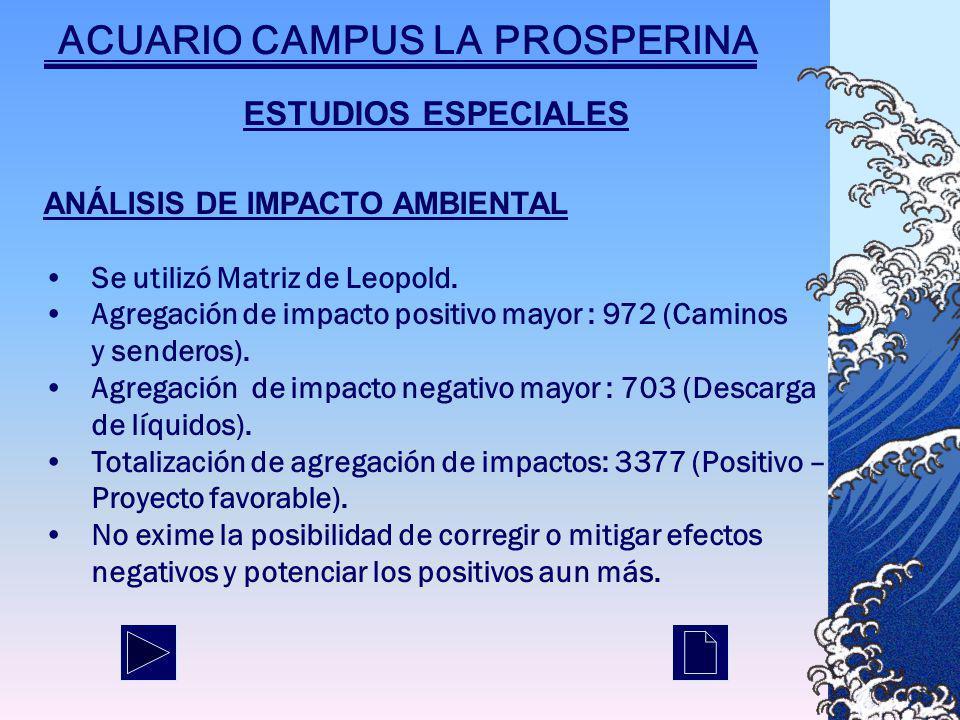 ESTUDIOS ESPECIALES ANÁLISIS DE IMPACTO AMBIENTAL Se utilizó Matriz de Leopold.