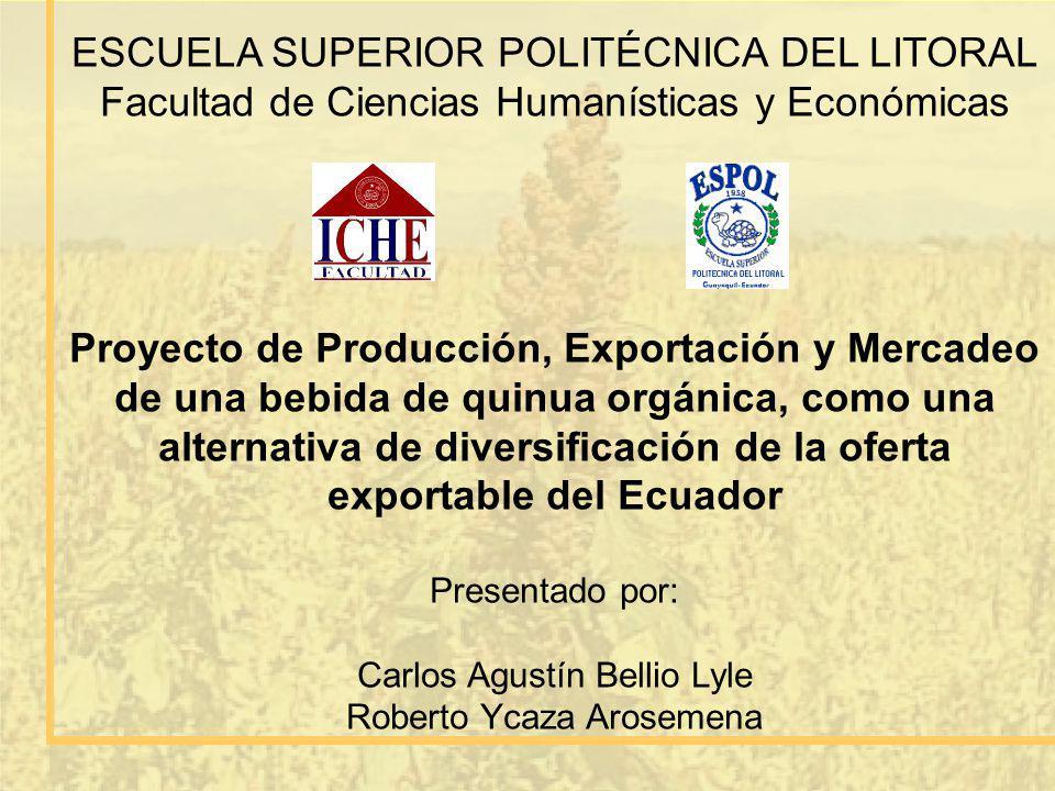 ESCUELA SUPERIOR POLITÉCNICA DEL LITORAL Facultad de Ciencias Humanísticas y Económicas Proyecto de Producción, Exportación y Mercadeo de una bebida d