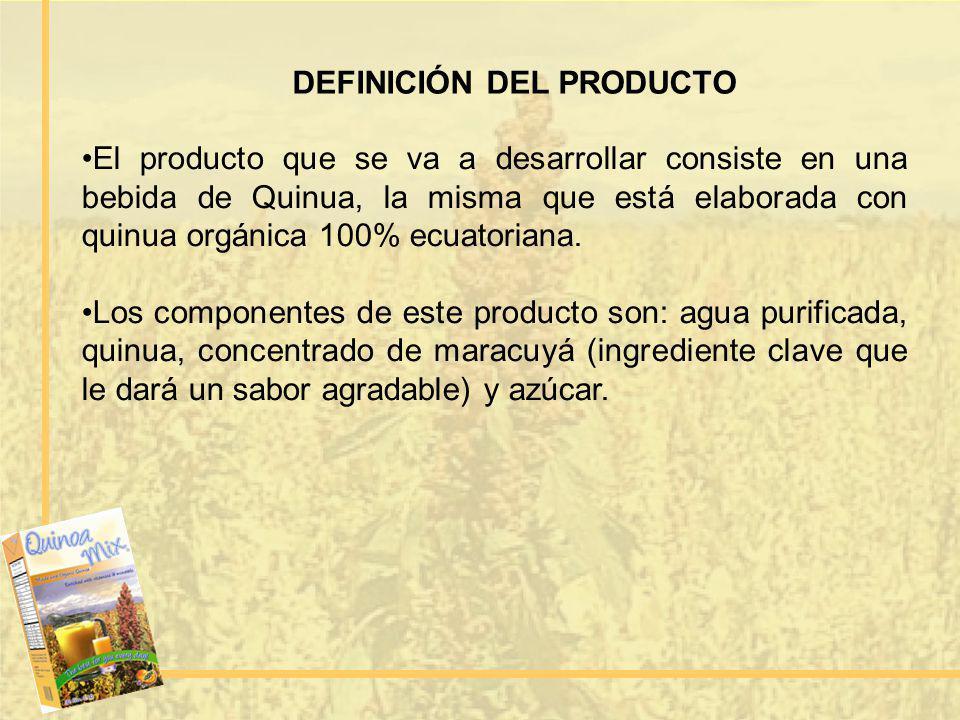 DEFINICIÓN DEL PRODUCTO El producto que se va a desarrollar consiste en una bebida de Quinua, la misma que está elaborada con quinua orgánica 100% ecu