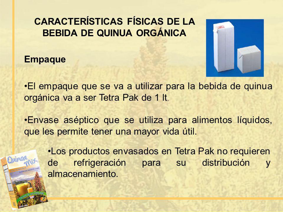 CARACTERÍSTICAS FÍSICAS DE LA BEBIDA DE QUINUA ORGÁNICA Empaque El empaque que se va a utilizar para la bebida de quinua orgánica va a ser Tetra Pak d