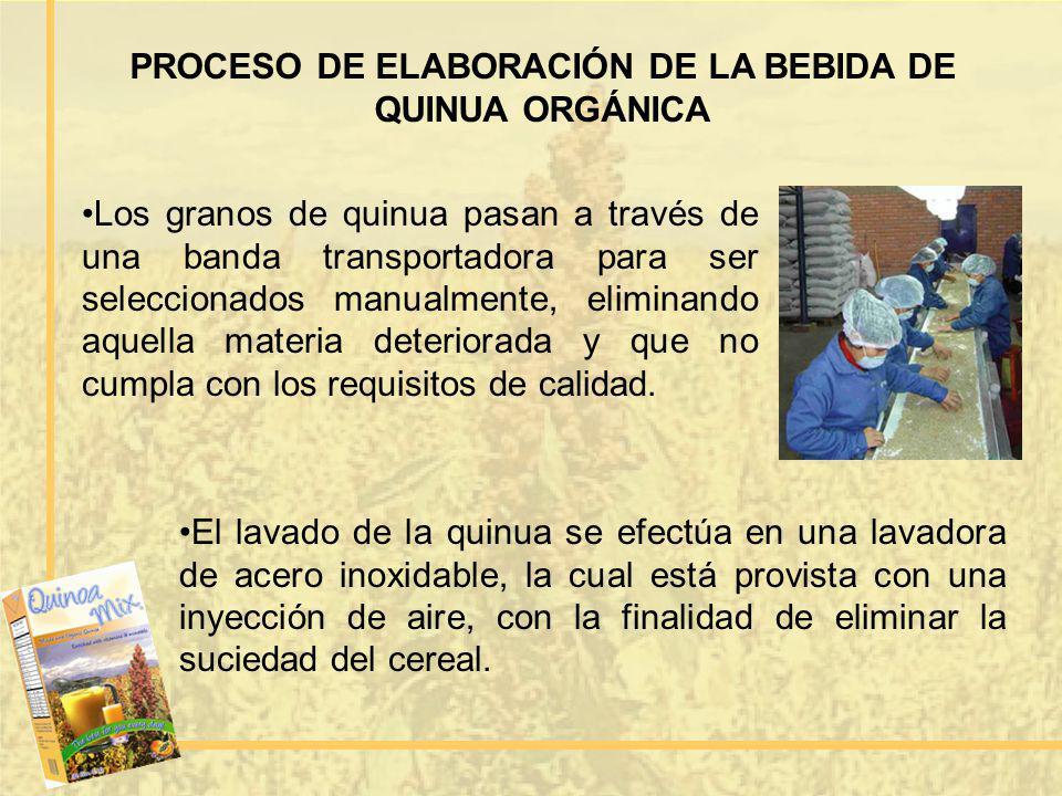 PROCESO DE ELABORACIÓN DE LA BEBIDA DE QUINUA ORGÁNICA Los granos de quinua pasan a través de una banda transportadora para ser seleccionados manualme