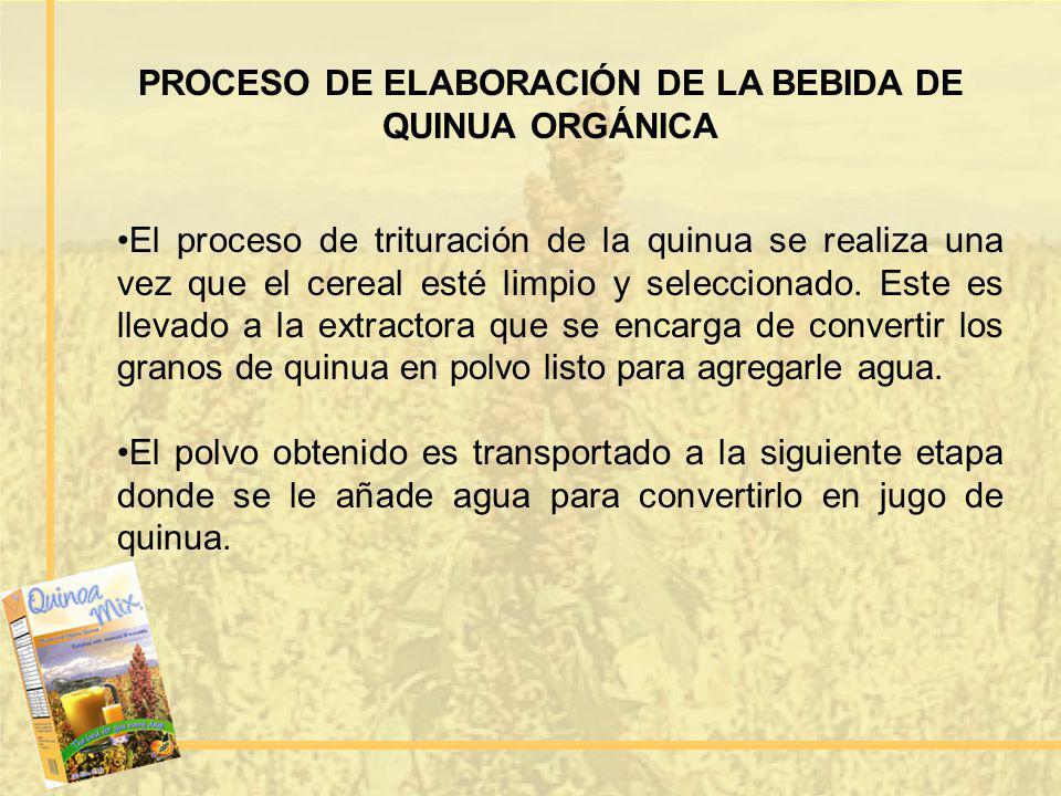 PROCESO DE ELABORACIÓN DE LA BEBIDA DE QUINUA ORGÁNICA El proceso de trituración de la quinua se realiza una vez que el cereal esté limpio y seleccion