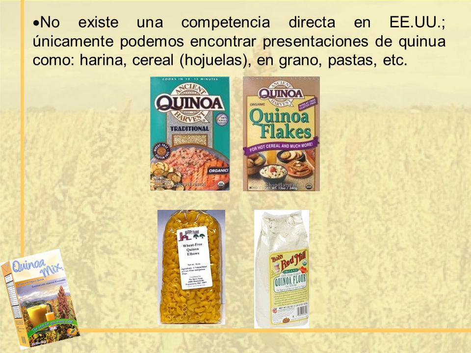 No existe una competencia directa en EE.UU.; únicamente podemos encontrar presentaciones de quinua como: harina, cereal (hojuelas), en grano, pastas,