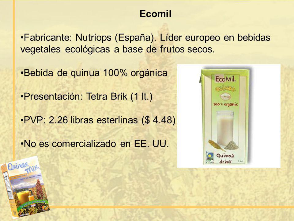 Ecomil Fabricante: Nutriops (España). Líder europeo en bebidas vegetales ecológicas a base de frutos secos. Bebida de quinua 100% orgánica Presentació
