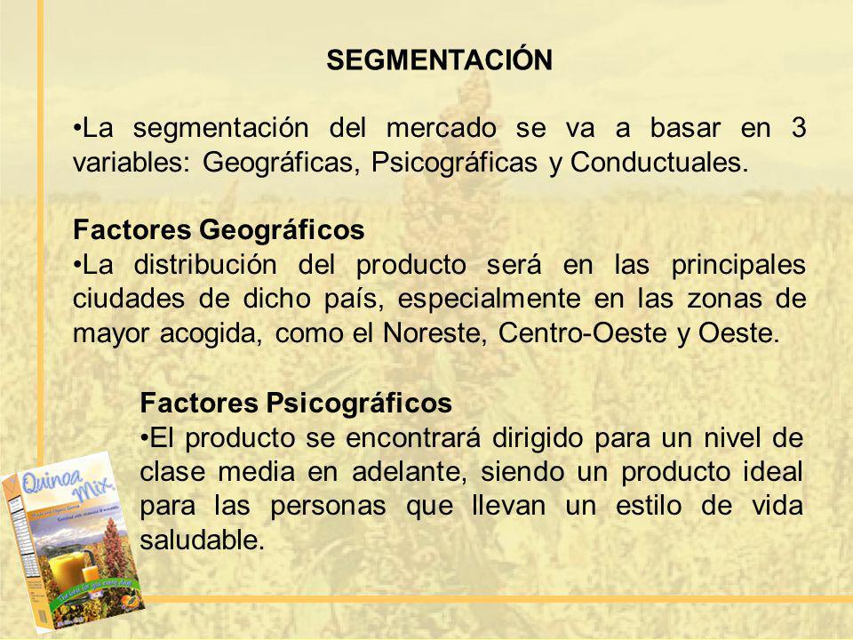 SEGMENTACIÓN La segmentación del mercado se va a basar en 3 variables: Geográficas, Psicográficas y Conductuales. Factores Geográficos La distribución
