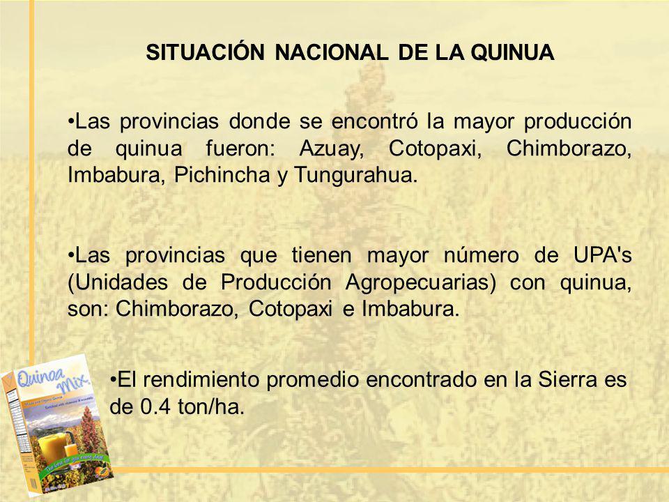 SITUACIÓN NACIONAL DE LA QUINUA Las provincias donde se encontró la mayor producción de quinua fueron: Azuay, Cotopaxi, Chimborazo, Imbabura, Pichinch
