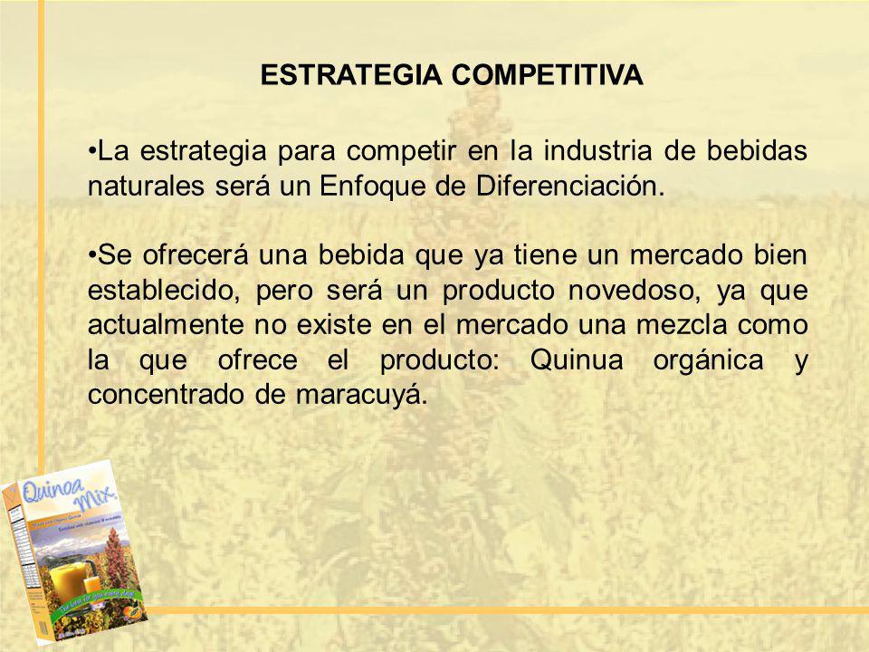 ESTRATEGIA COMPETITIVA La estrategia para competir en la industria de bebidas naturales será un Enfoque de Diferenciación. Se ofrecerá una bebida que
