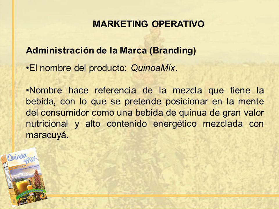 MARKETING OPERATIVO Administración de la Marca (Branding) El nombre del producto: QuinoaMix. Nombre hace referencia de la mezcla que tiene la bebida,