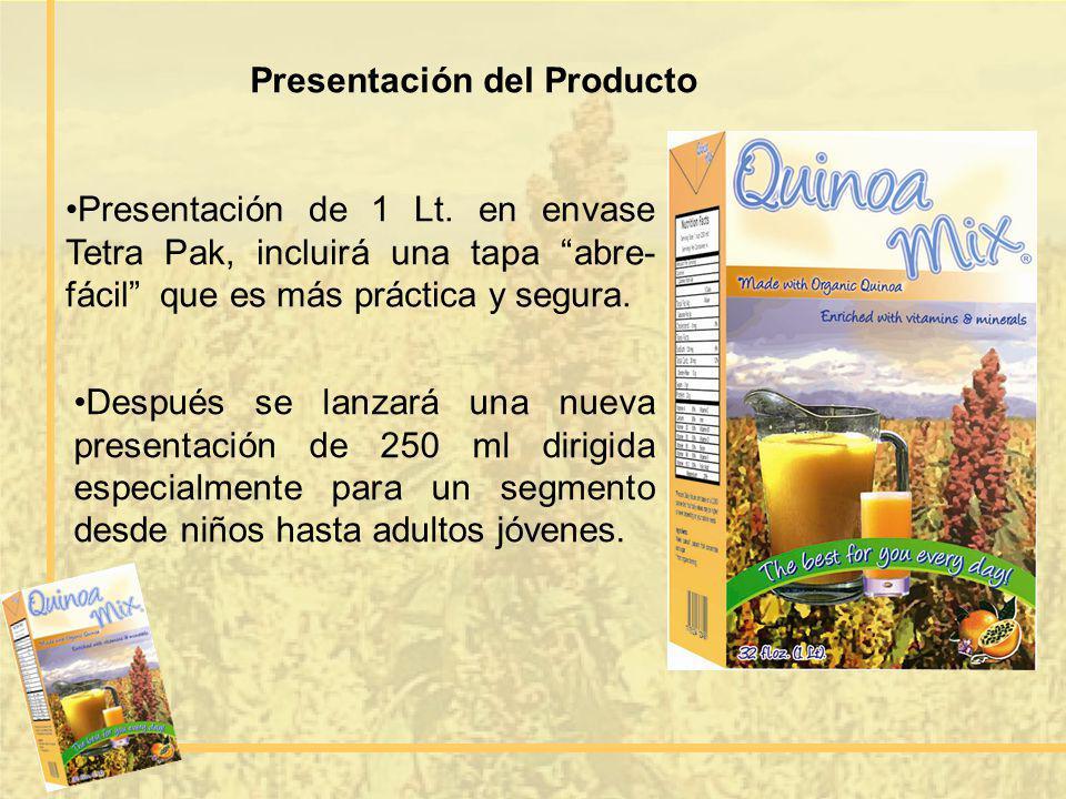 Presentación del Producto Presentación de 1 Lt. en envase Tetra Pak, incluirá una tapa abre- fácil que es más práctica y segura. Después se lanzará un