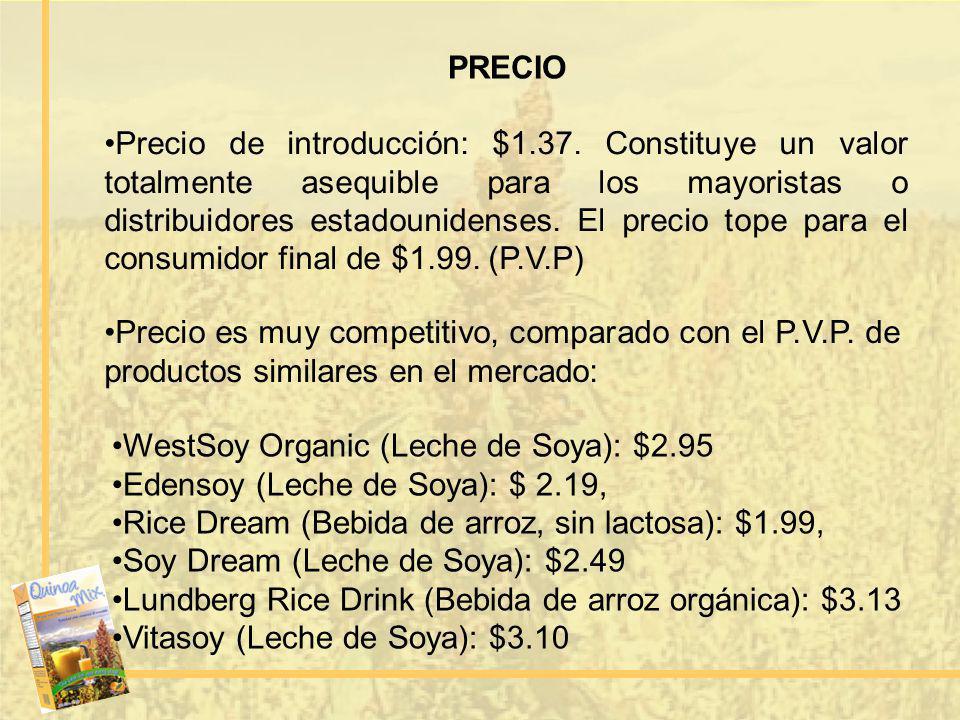 PRECIO Precio de introducción: $1.37. Constituye un valor totalmente asequible para los mayoristas o distribuidores estadounidenses. El precio tope pa