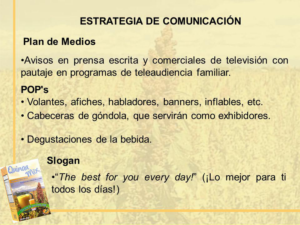 ESTRATEGIA DE COMUNICACIÓN Plan de Medios Avisos en prensa escrita y comerciales de televisión con pautaje en programas de teleaudiencia familiar. POP