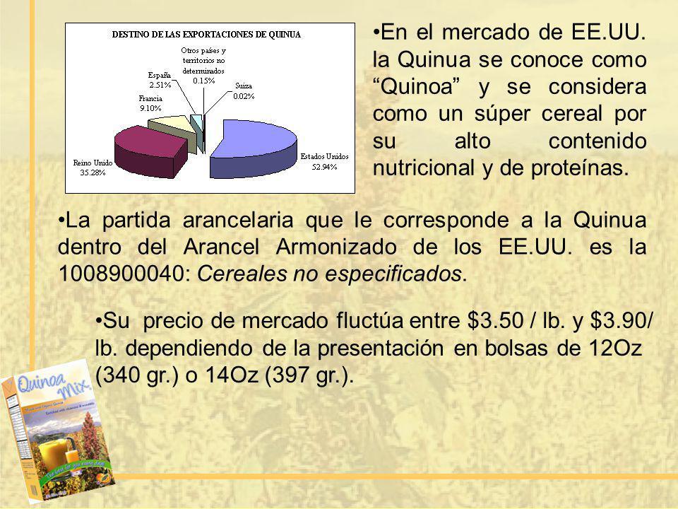 La partida arancelaria que le corresponde a la Quinua dentro del Arancel Armonizado de los EE.UU. es la 1008900040: Cereales no especificados. Su prec