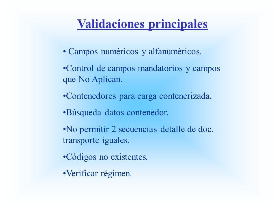 Validaciones principales Campos numéricos y alfanuméricos. Control de campos mandatorios y campos que No Aplican. Contenedores para carga contenerizad
