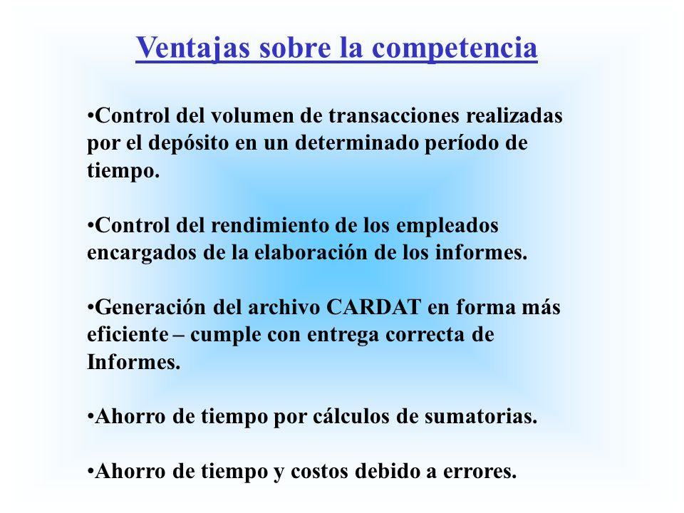 Ventajas sobre la competencia Control del volumen de transacciones realizadas por el depósito en un determinado período de tiempo. Control del rendimi