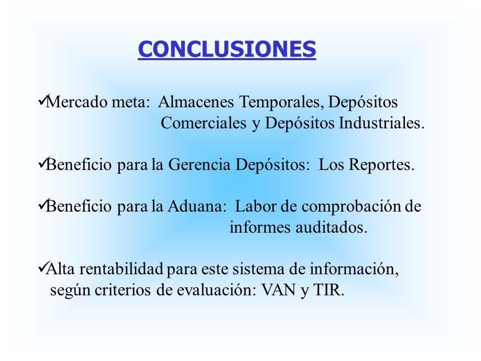 CONCLUSIONES Mercado meta: Almacenes Temporales, Depósitos Comerciales y Depósitos Industriales. Beneficio para la Gerencia Depósitos: Los Reportes. B