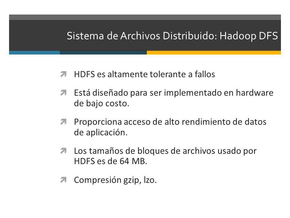 Sistema de Archivos Distribuido: Hadoop DFS HDFS es altamente tolerante a fallos Está diseñado para ser implementado en hardware de bajo costo. Propor