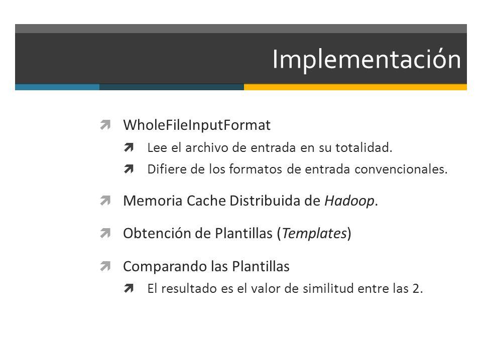 Implementación WholeFileInputFormat Lee el archivo de entrada en su totalidad. Difiere de los formatos de entrada convencionales. Memoria Cache Distri