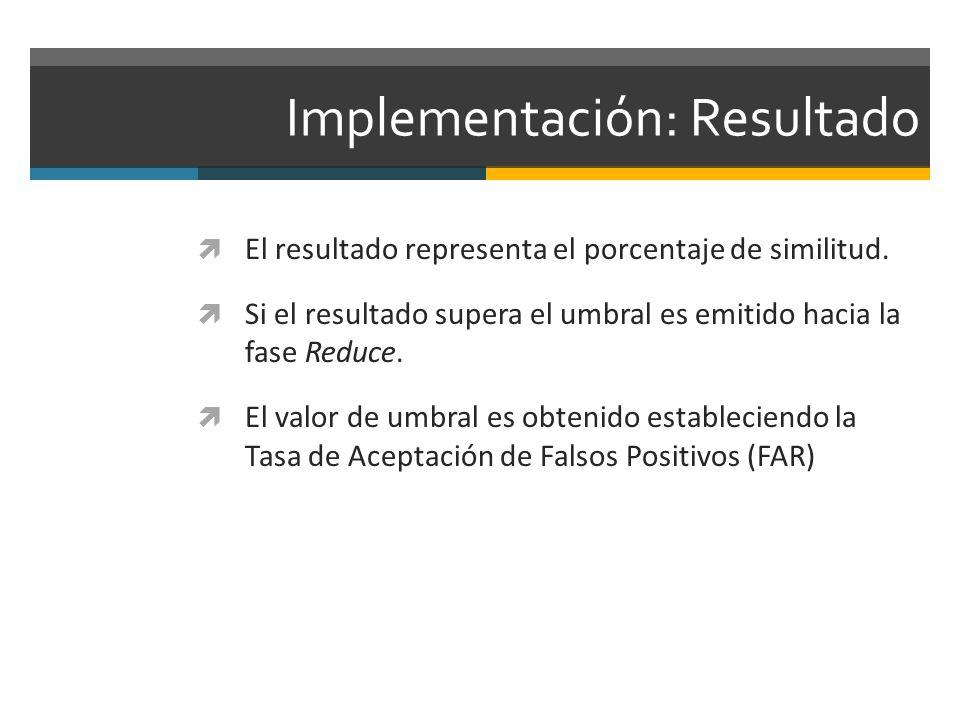 Implementación: Resultado El resultado representa el porcentaje de similitud. Si el resultado supera el umbral es emitido hacia la fase Reduce. El val