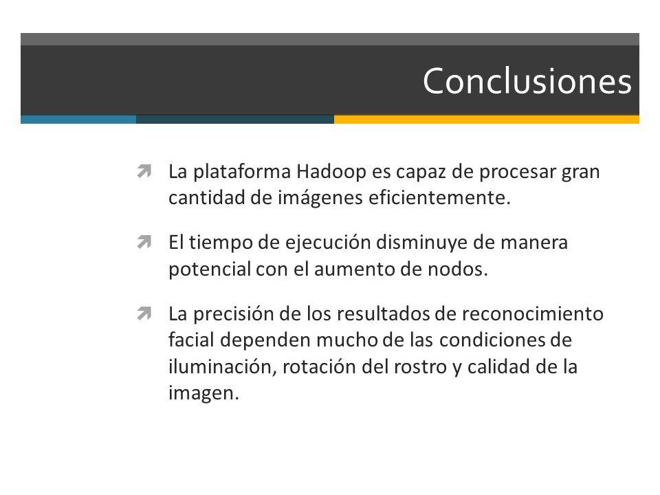 Conclusiones La plataforma Hadoop es capaz de procesar gran cantidad de imágenes eficientemente. El tiempo de ejecución disminuye de manera potencial