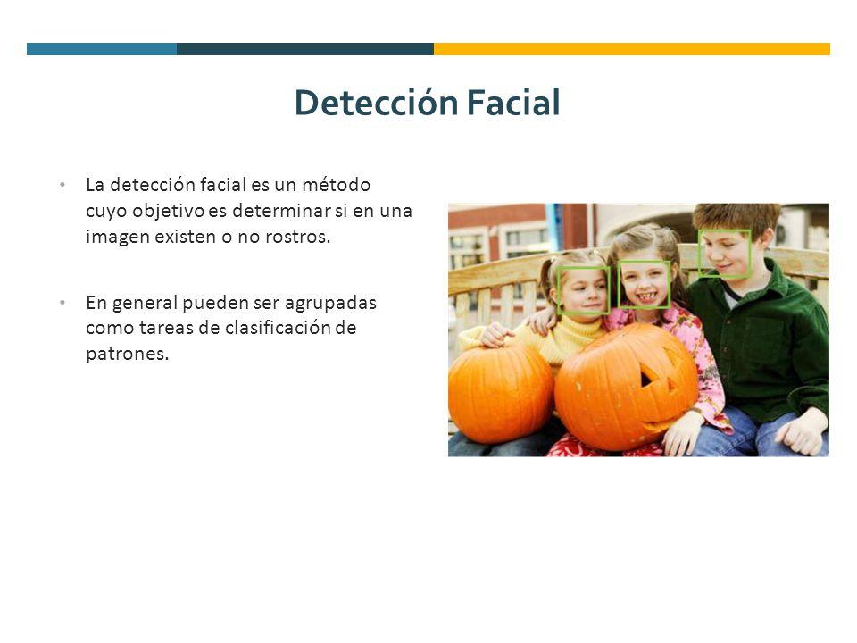 Detección Facial La detección facial es un método cuyo objetivo es determinar si en una imagen existen o no rostros. En general pueden ser agrupadas c