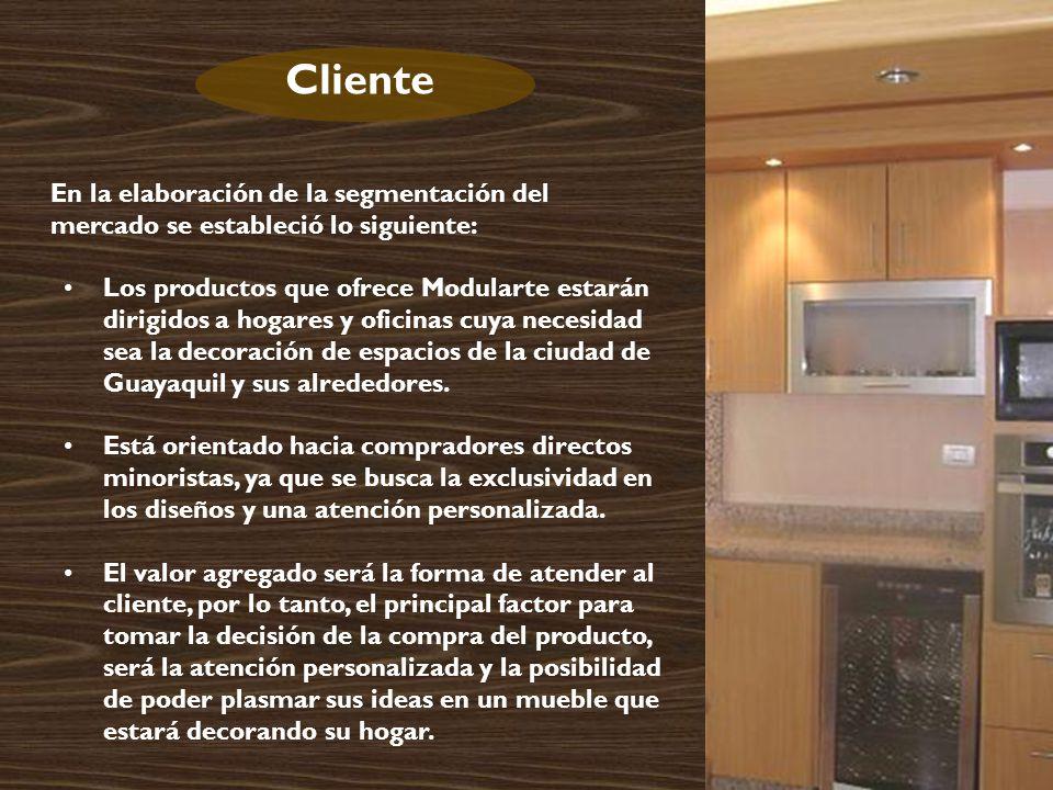 En la elaboración de la segmentación del mercado se estableció lo siguiente: Los productos que ofrece Modularte estarán dirigidos a hogares y oficinas cuya necesidad sea la decoración de espacios de la ciudad de Guayaquil y sus alrededores.