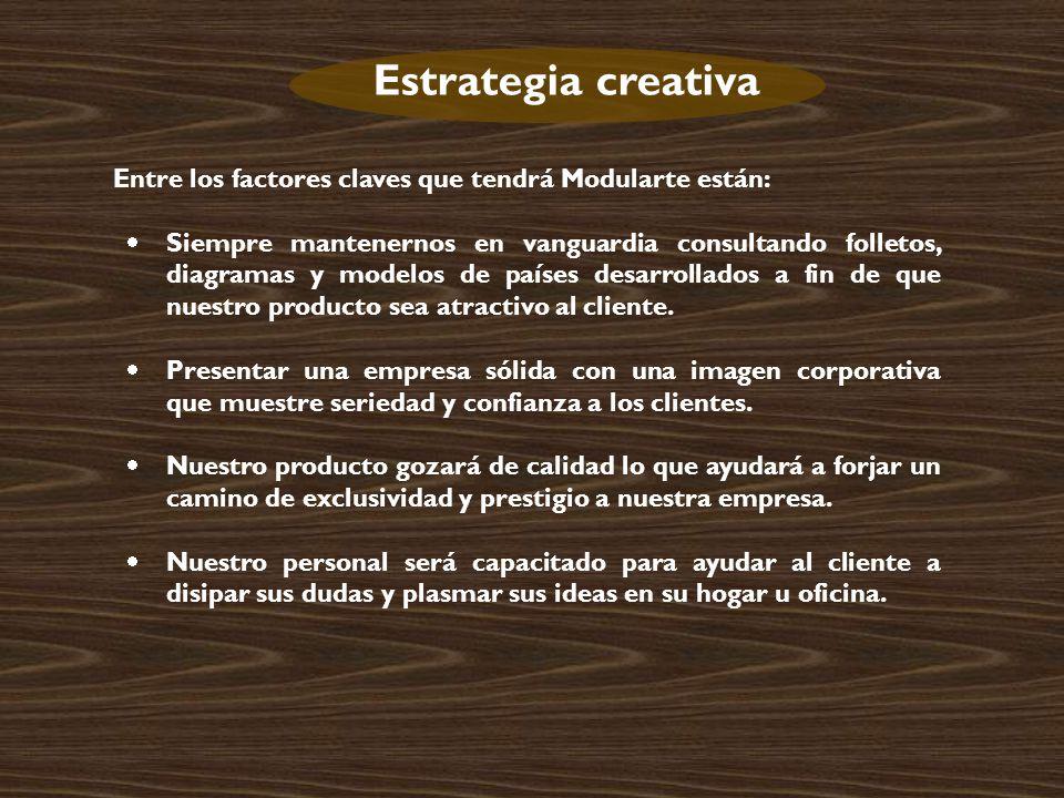 Estrategia creativa Entre los factores claves que tendrá Modularte están: Siempre mantenernos en vanguardia consultando folletos, diagramas y modelos de países desarrollados a fin de que nuestro producto sea atractivo al cliente.