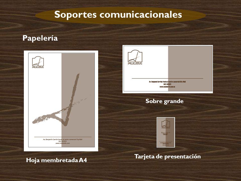 Soportes comunicacionales Papelería Hoja membretada A4 Sobre grande Tarjeta de presentación