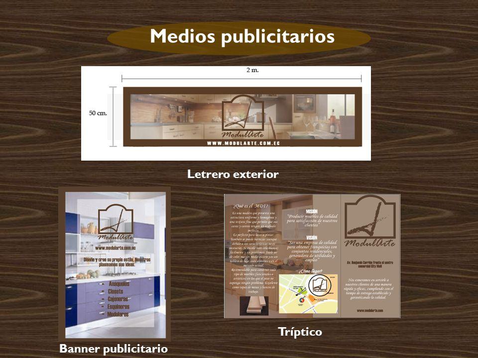 Medios publicitarios Letrero exterior Banner publicitario Tríptico