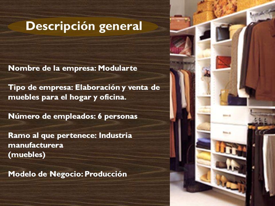 Descripción general Nombre de la empresa: Modularte Tipo de empresa: Elaboración y venta de muebles para el hogar y oficina.
