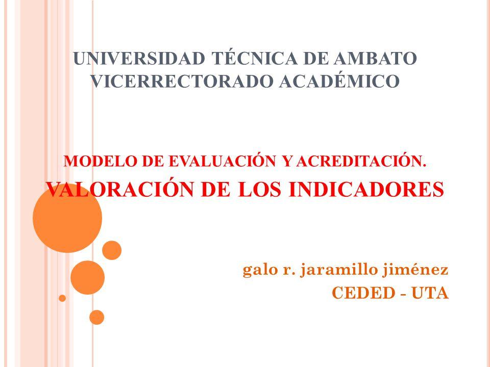 UNIVERSIDAD TÉCNICA DE AMBATO VICERRECTORADO ACADÉMICO MODELO DE EVALUACIÓN Y ACREDITACIÓN.