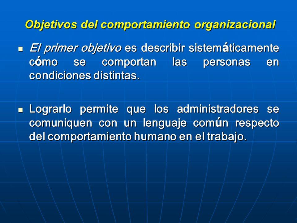 Objetivos del comportamiento organizacional El primer objetivo es describir sistem á ticamente c ó mo se comportan las personas en condiciones distintas.