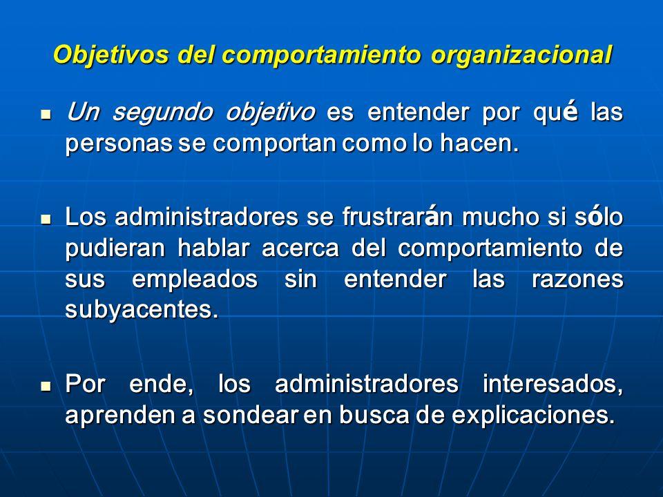 Objetivos del comportamiento organizacional Un segundo objetivo es entender por qu é las personas se comportan como lo hacen.