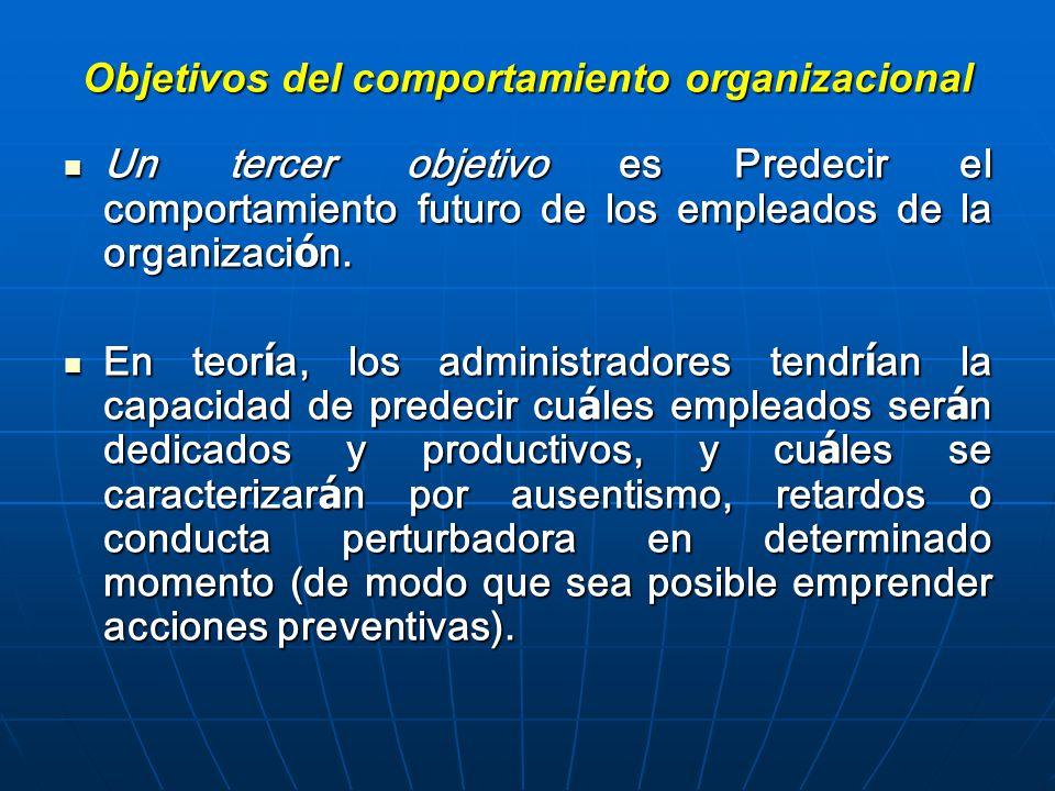 Objetivos del comportamiento organizacional Un tercer objetivo es Predecir el comportamiento futuro de los empleados de la organizaci ó n.