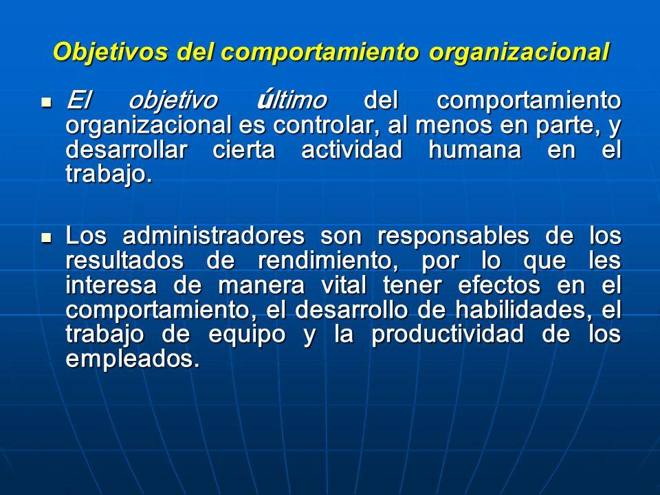 Objetivos del comportamiento organizacional El objetivo ú ltimo del comportamiento organizacional es controlar, al menos en parte, y desarrollar cierta actividad humana en el trabajo.