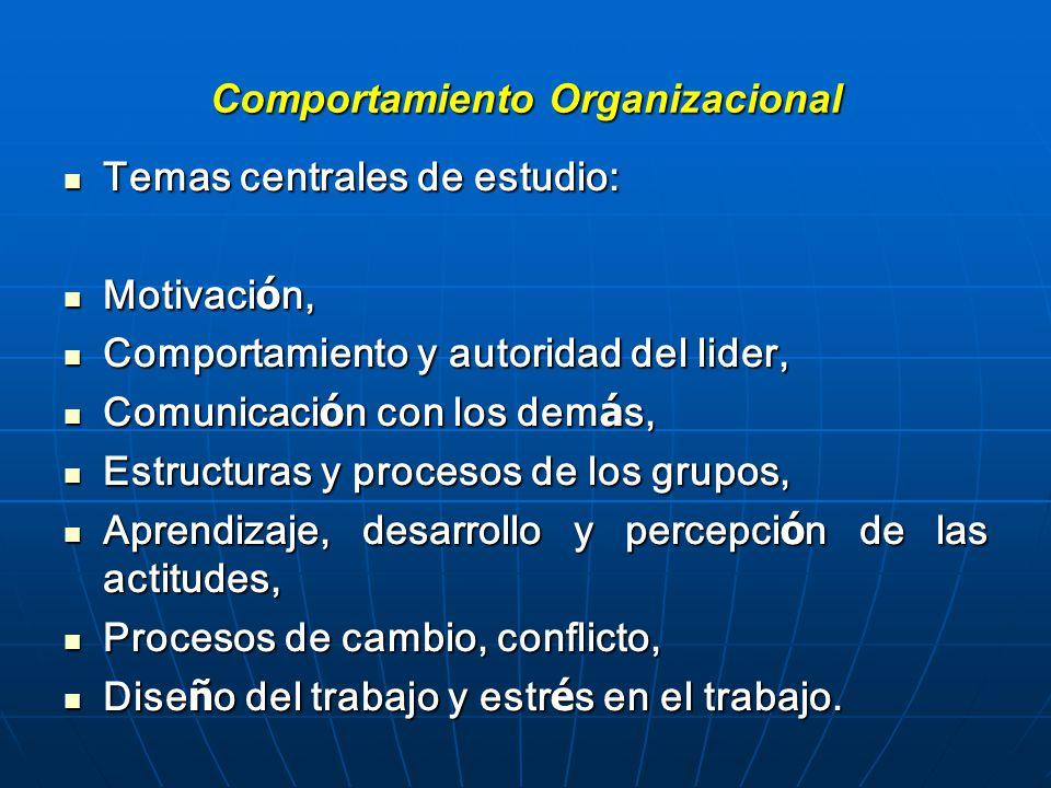 Comportamiento Organizacional Temas centrales de estudio: Temas centrales de estudio: Motivaci ó n, Motivaci ó n, Comportamiento y autoridad del lider, Comportamiento y autoridad del lider, Comunicaci ó n con los dem á s, Comunicaci ó n con los dem á s, Estructuras y procesos de los grupos, Estructuras y procesos de los grupos, Aprendizaje, desarrollo y percepci ó n de las actitudes, Aprendizaje, desarrollo y percepci ó n de las actitudes, Procesos de cambio, conflicto, Procesos de cambio, conflicto, Dise ñ o del trabajo y estr é s en el trabajo.