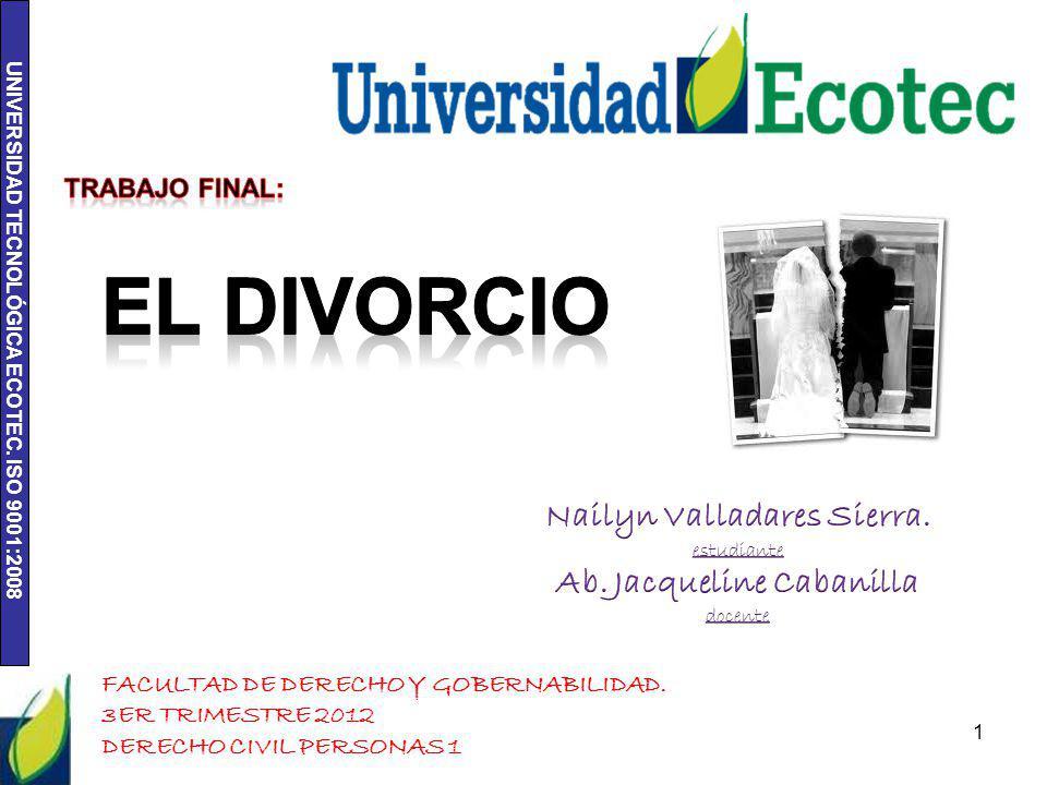 UNIVERSIDAD TECNOLÓGICA ECOTEC. ISO 9001:2008 1 FACULTAD DE DERECHO Y GOBERNABILIDAD. 3ER TRIMESTRE 2012 DERECHO CIVIL PERSONAS 1