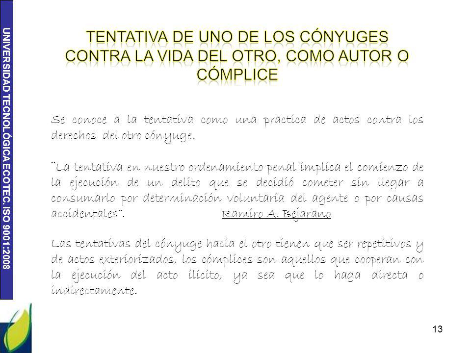 UNIVERSIDAD TECNOLÓGICA ECOTEC. ISO 9001:2008 13 Se conoce a la tentativa como una practica de actos contra los derechos del otro cónyuge. ¨La tentati