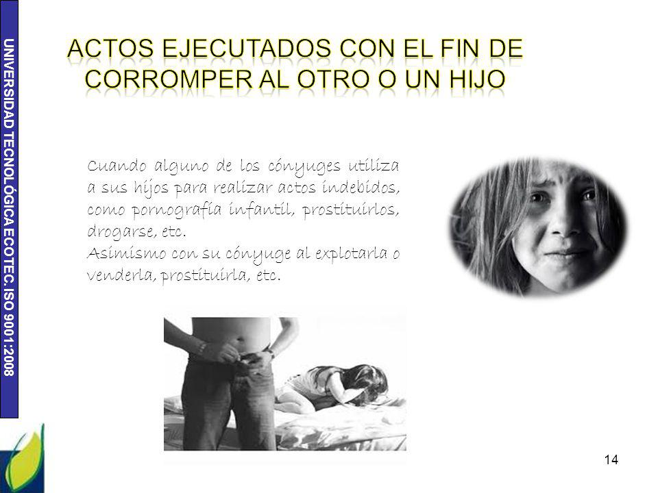 UNIVERSIDAD TECNOLÓGICA ECOTEC. ISO 9001:2008 14 Cuando alguno de los cónyuges utiliza a sus hijos para realizar actos indebidos, como pornografía inf