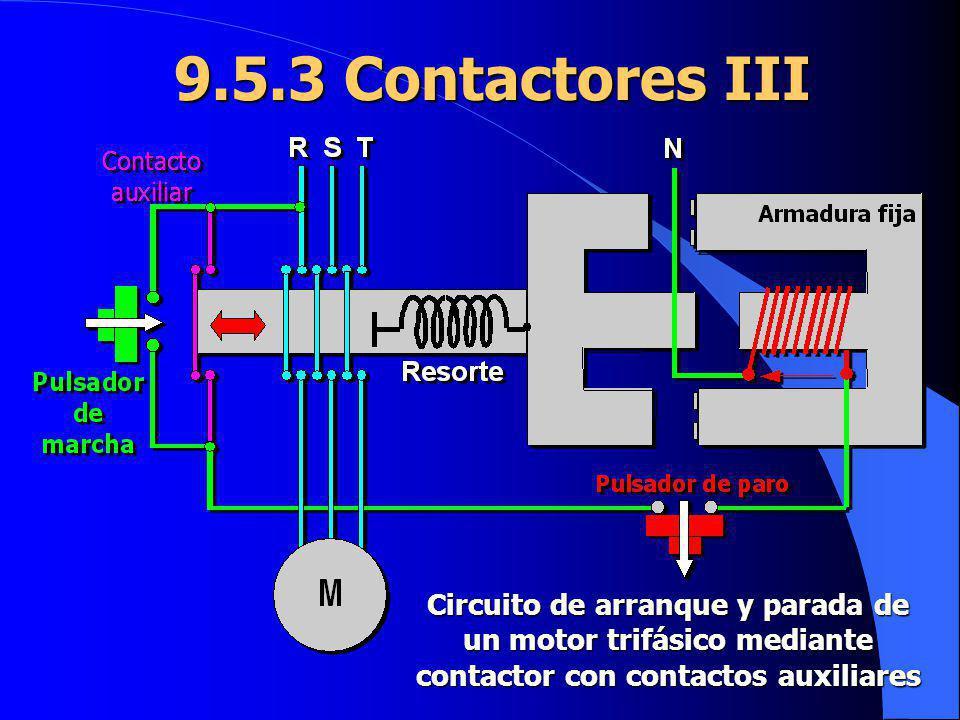 9.5.3 Contactores III Circuito de arranque y parada de un motor trifásico mediante contactor con contactos auxiliares