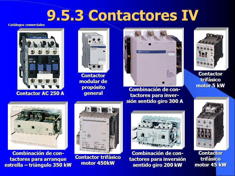 9.5.3 Contactores IV Contactor AC 250 A Combinación de con- tactores para inver- sión sentido giro 300 A Contactor modular de propósito general Combin