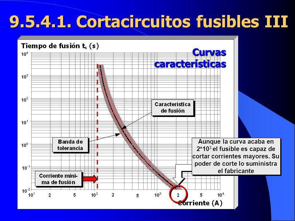 9.5.4.1. Cortacircuitos fusibles III Aunque la curva acaba en 2*10 3 el fusible es capaz de cortar corrientes mayores. Su poder de corte lo suministra