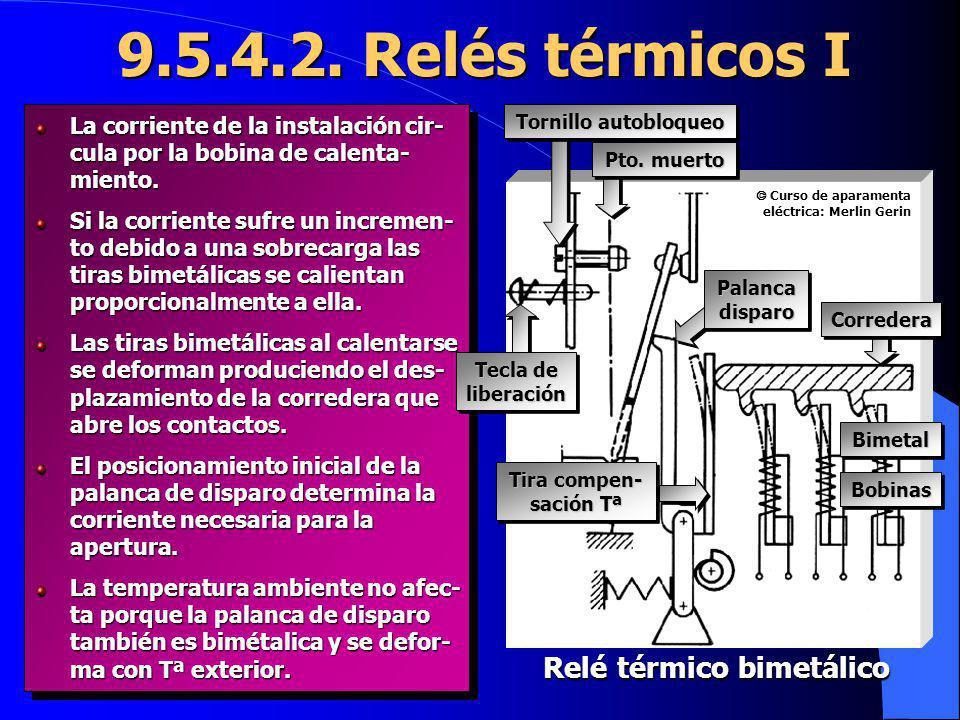9.5.4.2. Relés térmicos I La corriente de la instalación cir- cula por la bobina de calenta- miento. Si la corriente sufre un incremen- to debido a un